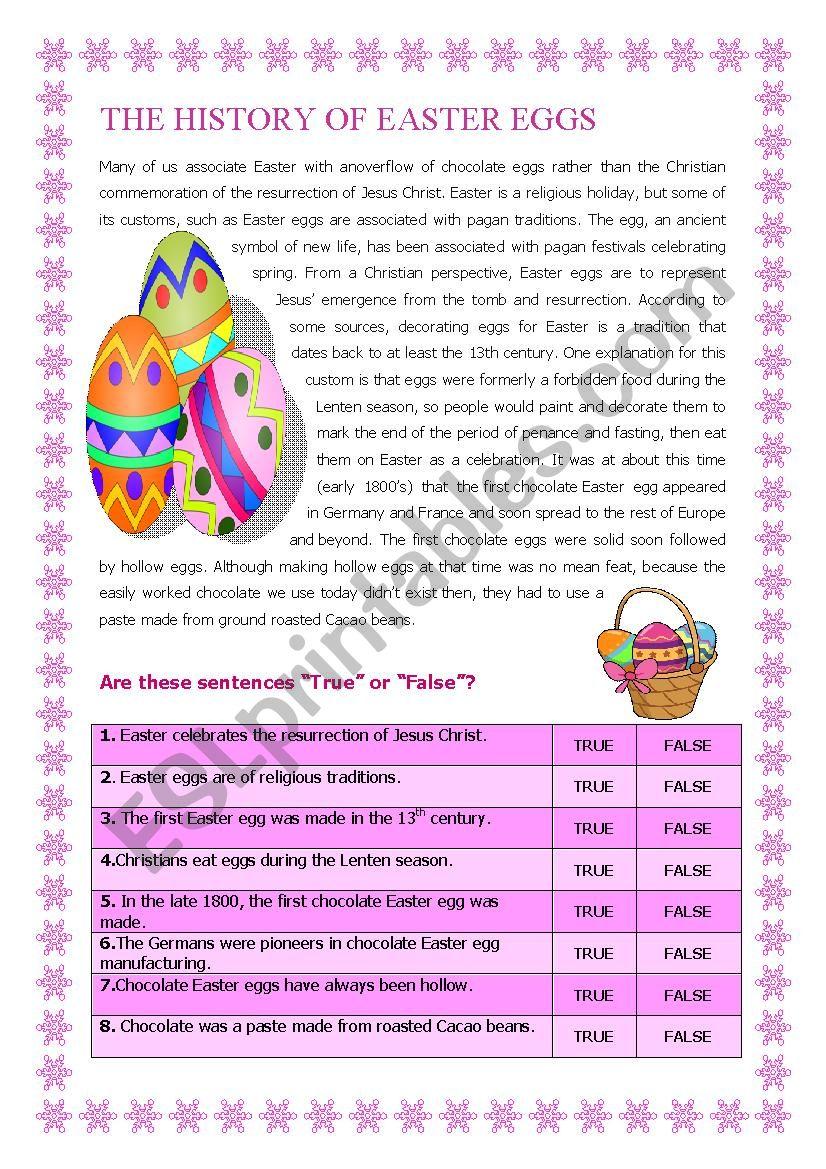 The History of the Easter Egg worksheet