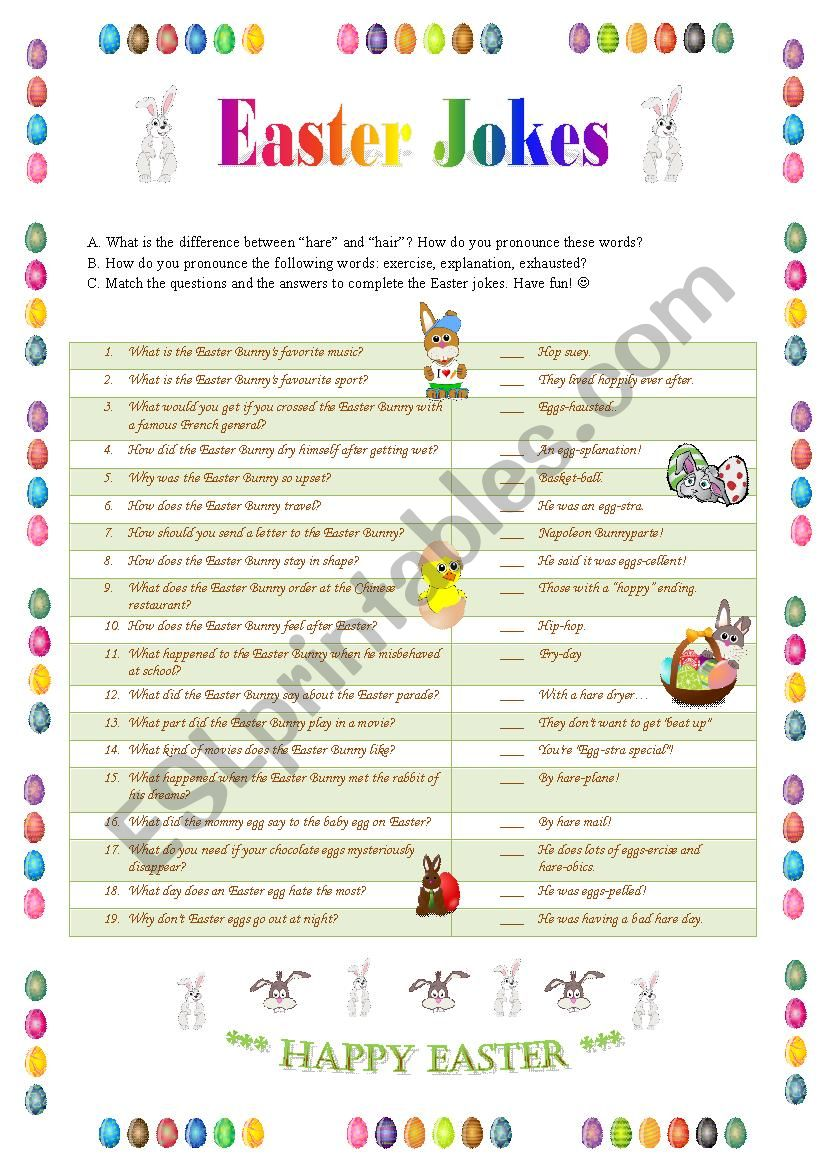 Easter Jokes 1 - matching worksheet