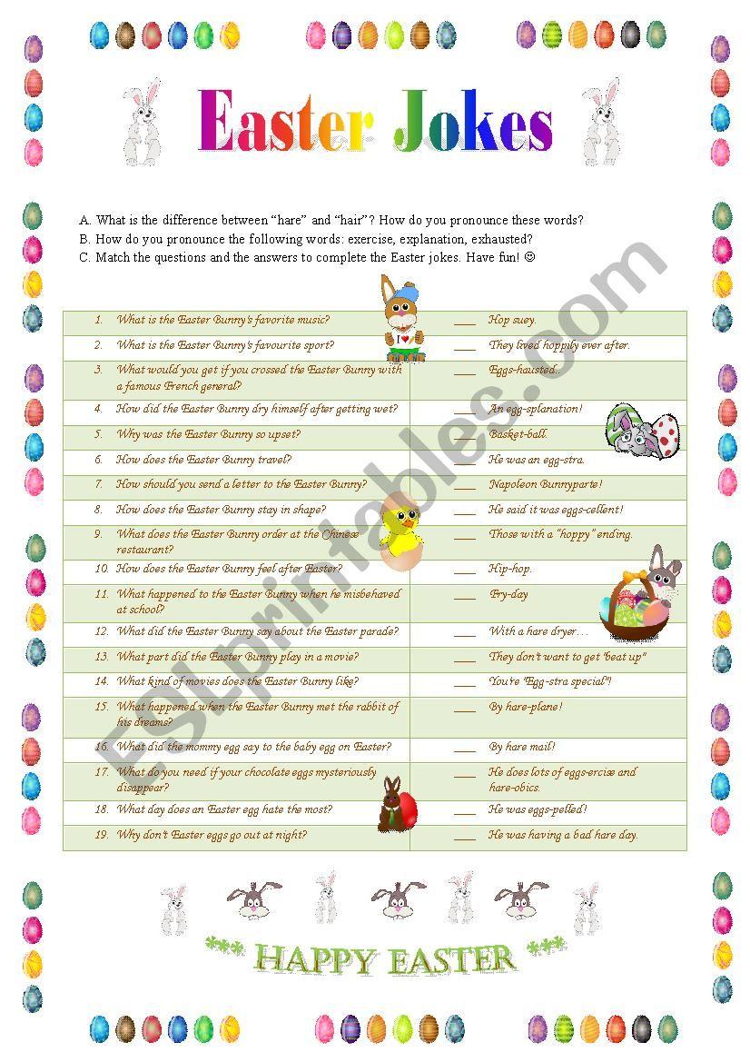 Easter Jokes 1 - matching worksheet