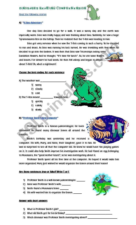 Dinosaurs Reading Comprehension - ESL worksheet by Cyn.