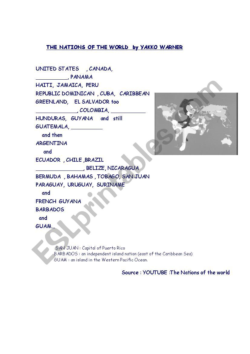 Nations od the world-song - ESL worksheet by pattyrs09