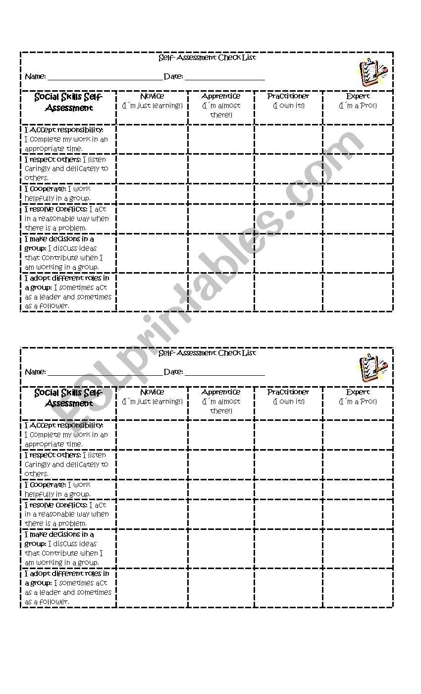 - Self Assessment Social Skills - ESL Worksheet By Vanedeakin84