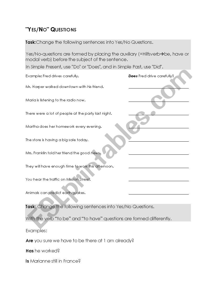 Yes No Question Esl Worksheet By Mayasabathy