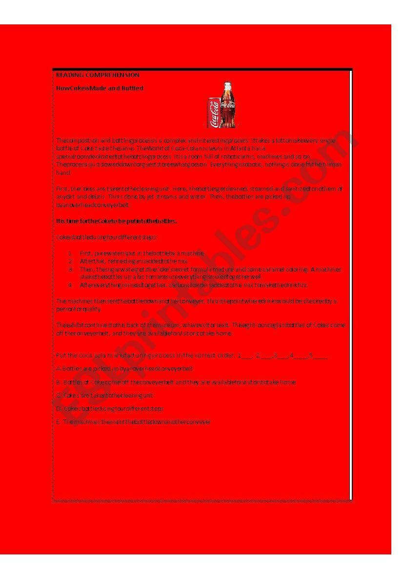 coke reading - ESL worksheet by Sheccid