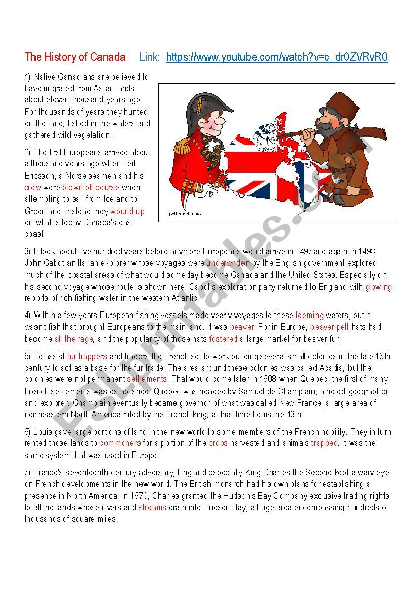The History of Canada worksheet