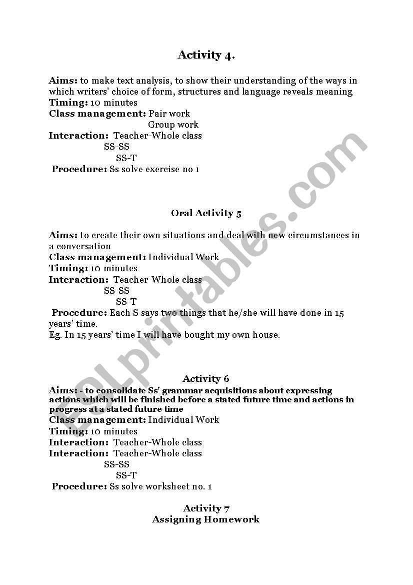 Lesson plan future perfect - ESL worksheet by madalinalupu