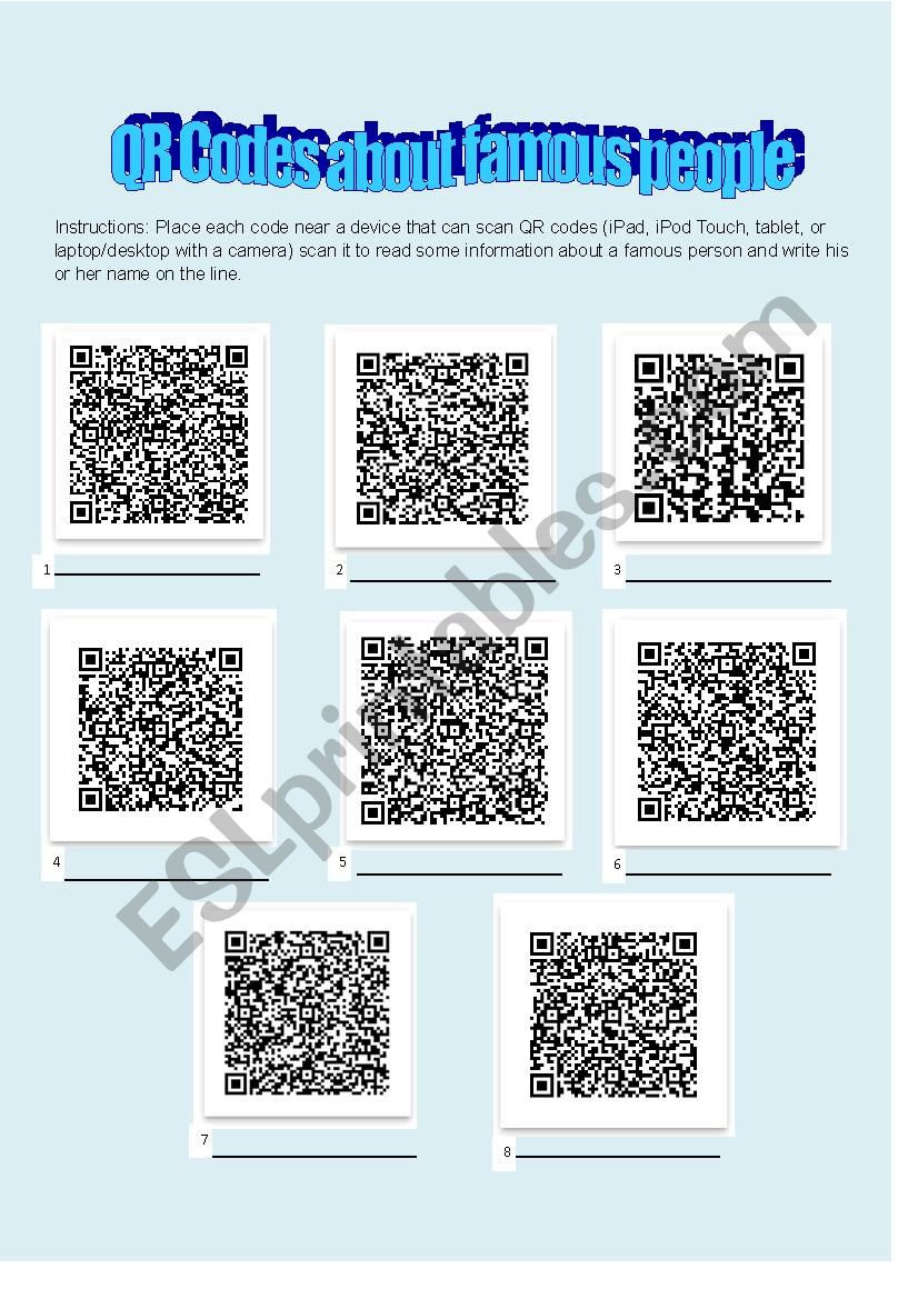 Famous people QR code quiz worksheet