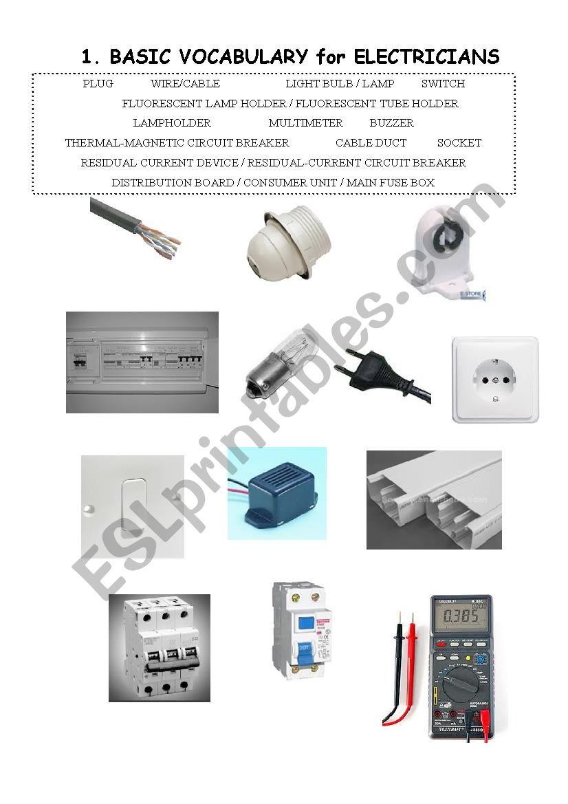 Vocabulary For Electricians Vocational Esl Worksheet By Battenburg
