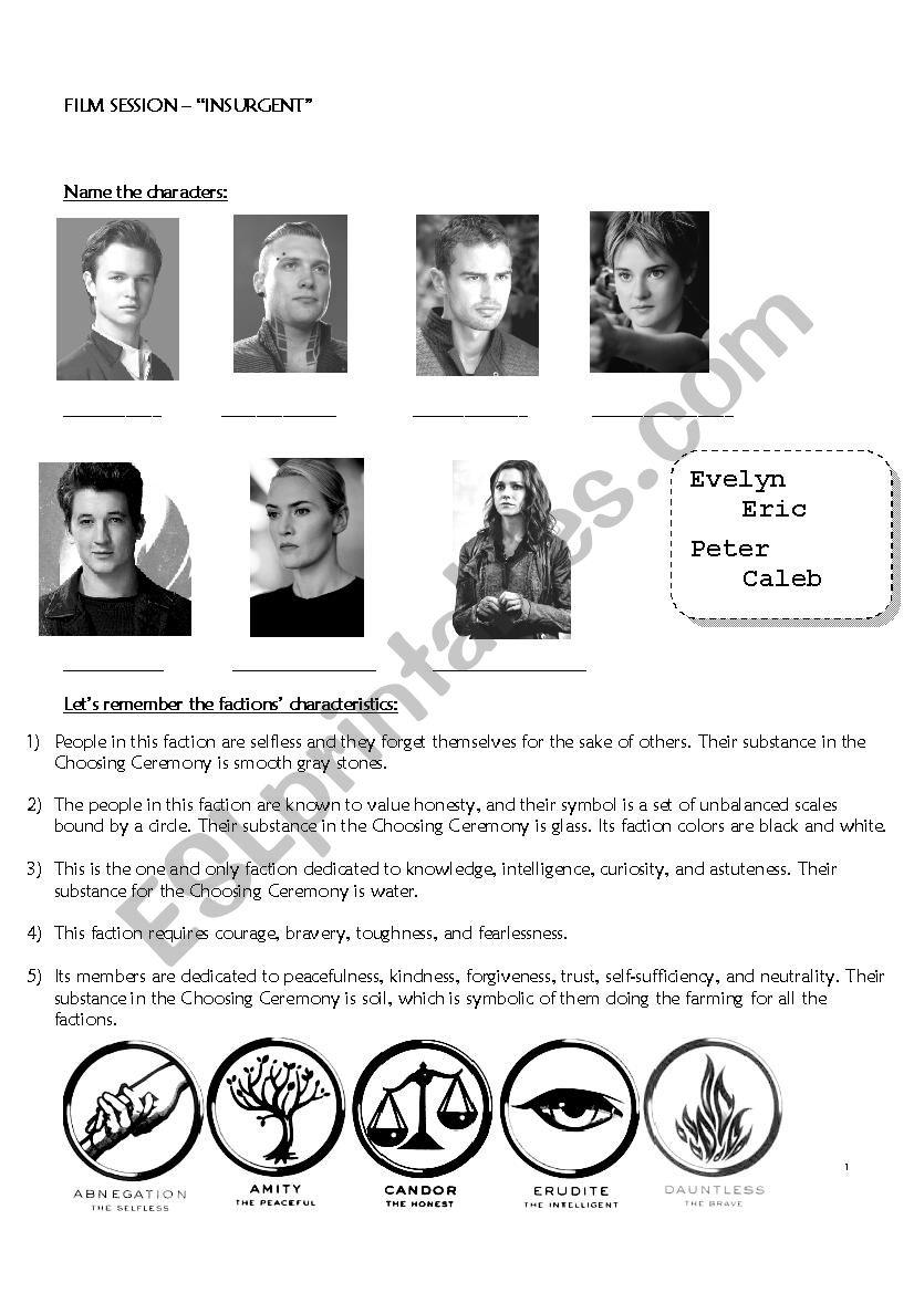 Insurgent - movie worksheet worksheet