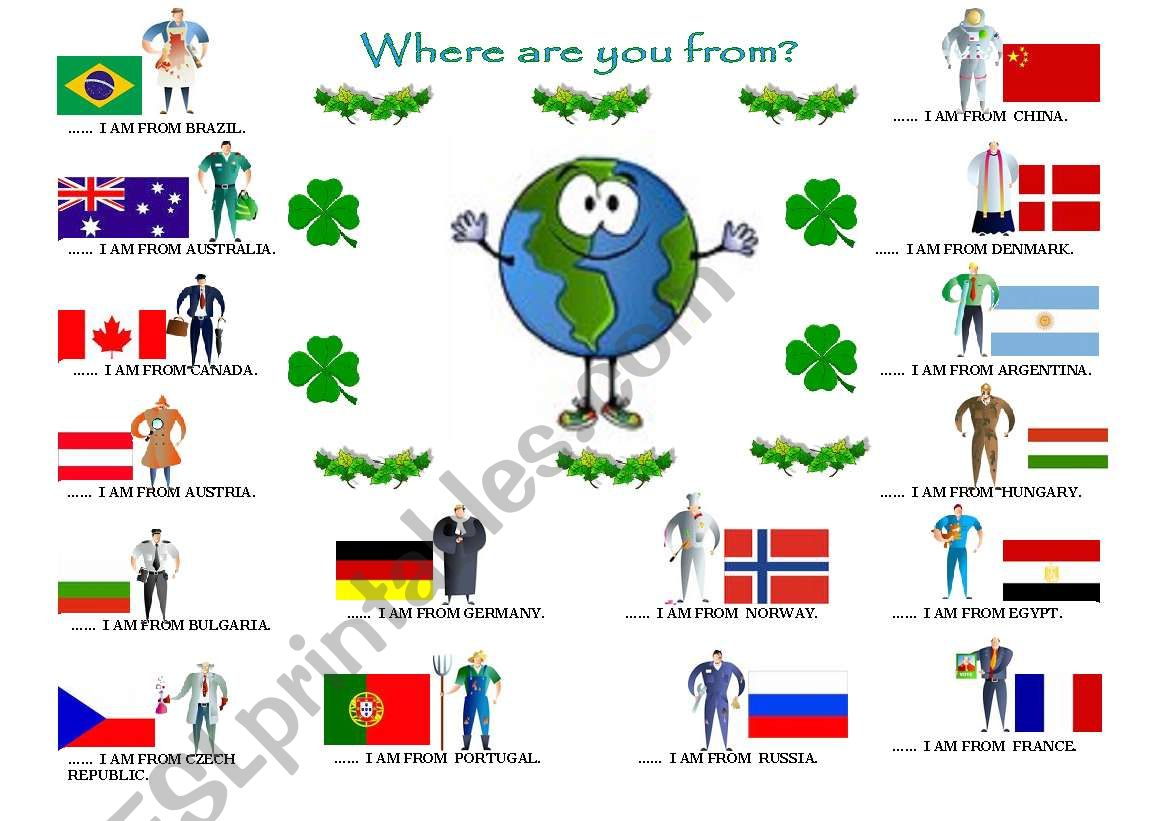 WHERE ARE YOU FROM? worksheet