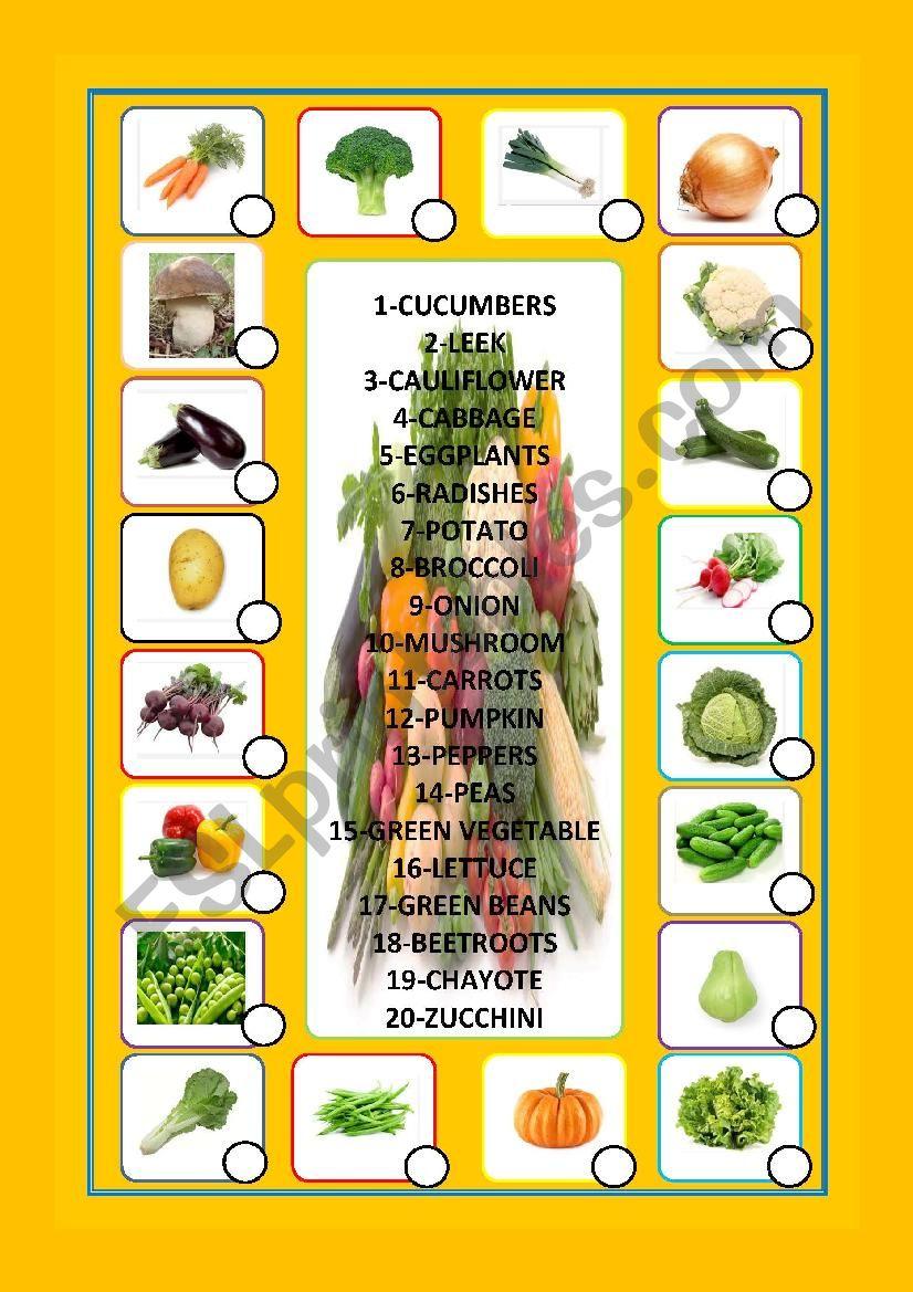 vegetables matching worksheet