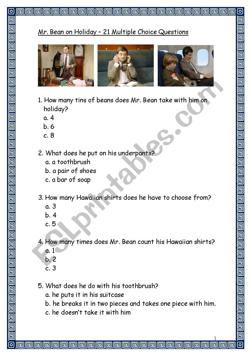 Mr. Bean On Holiday - 21 Multiple Choice Questions