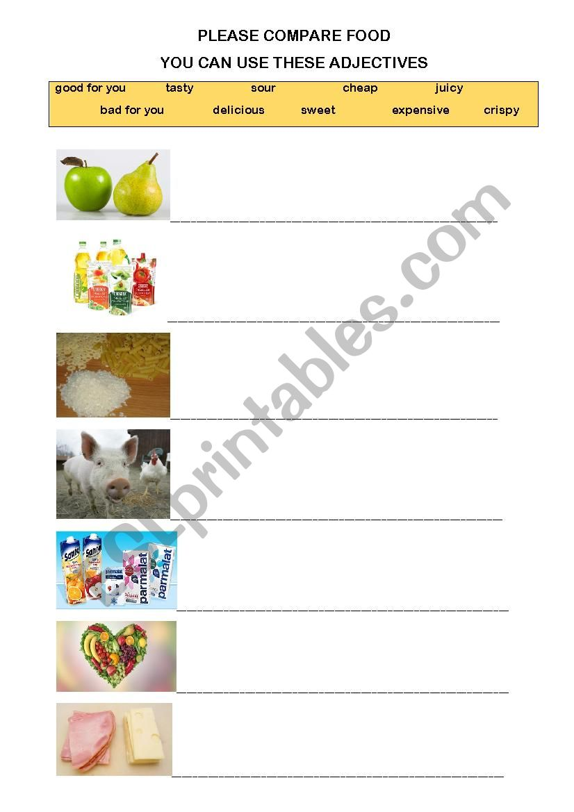 FOOD COMPARISON worksheet