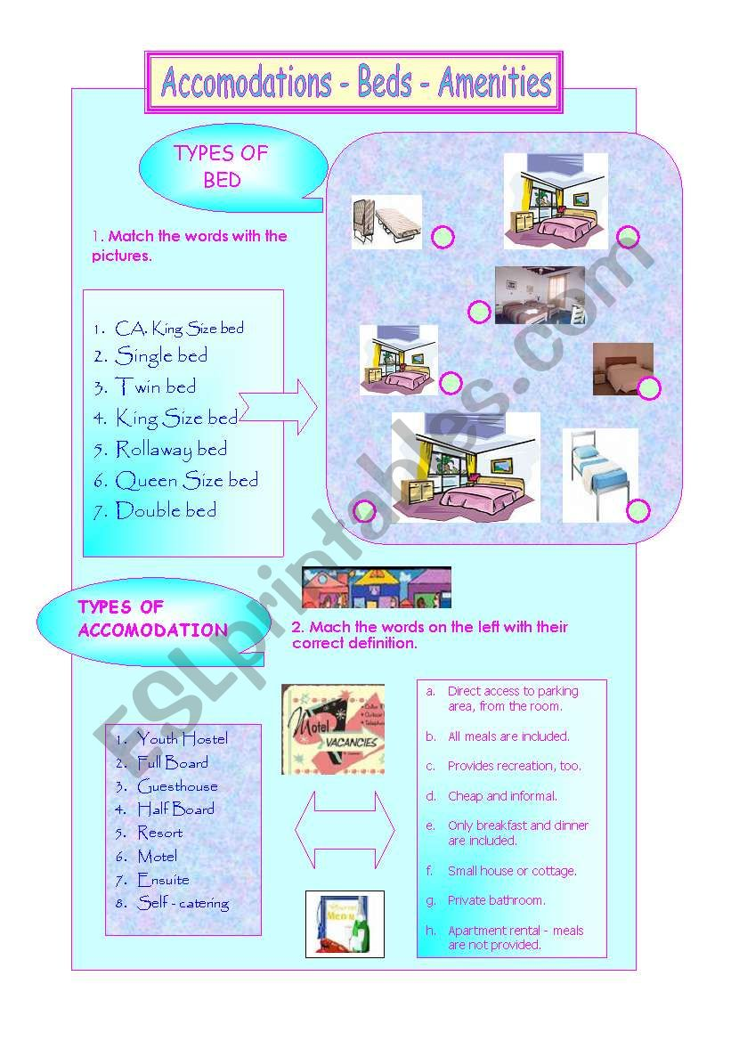 Hotel Bed size and amenities worksheet