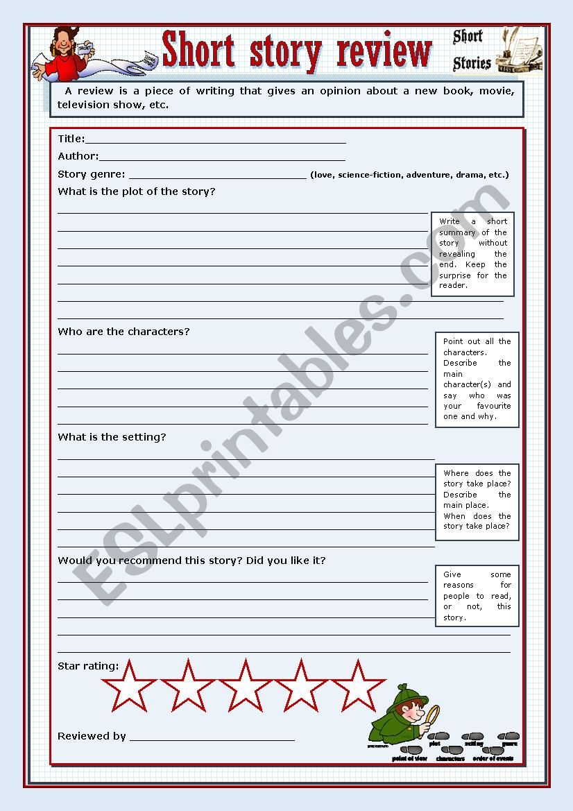 Short story review worksheet