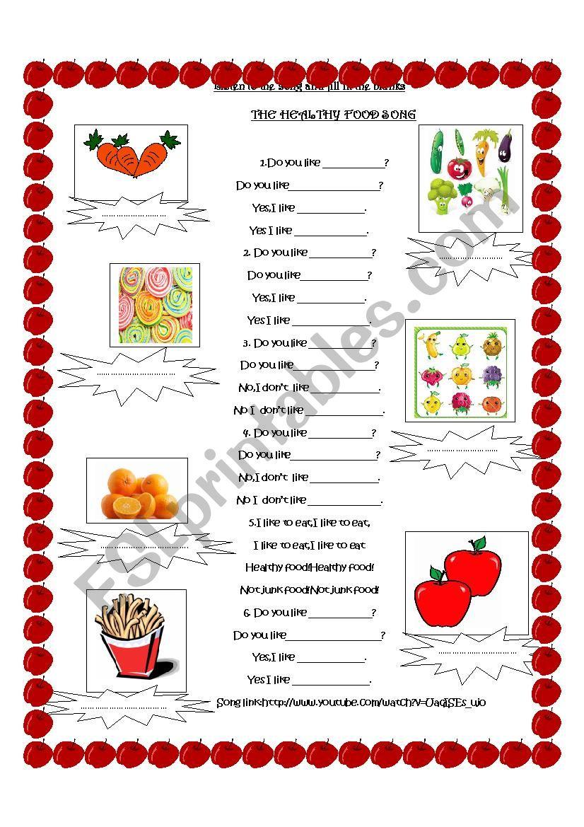 The Healthy Food Song worksheet