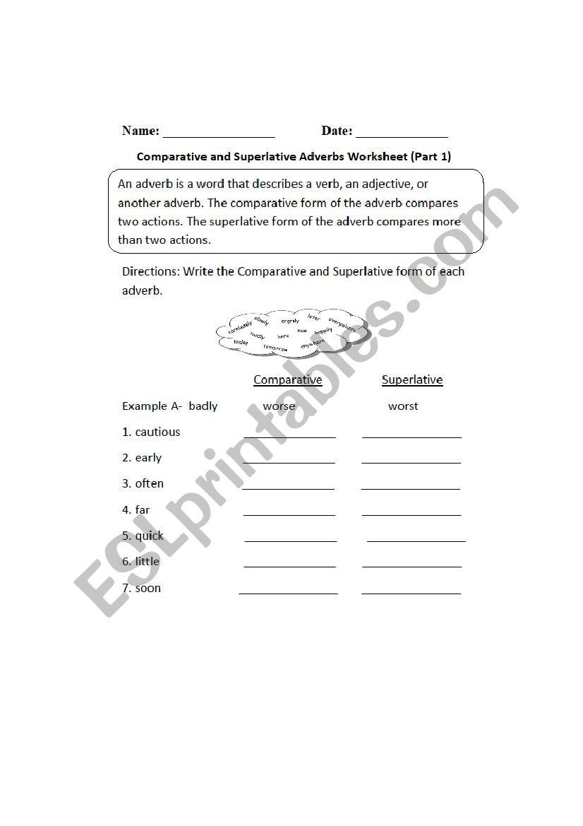 comparative superlative worksheet