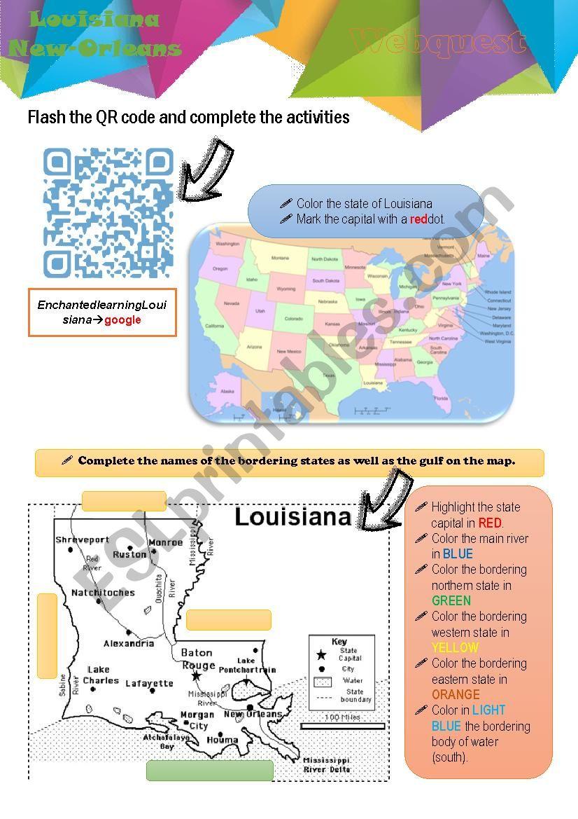 Webquest Louisiana worksheet