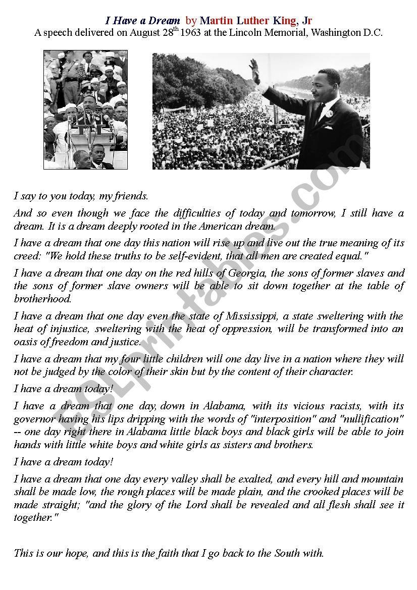 I Have A Dream - ESL worksheet by emilie10