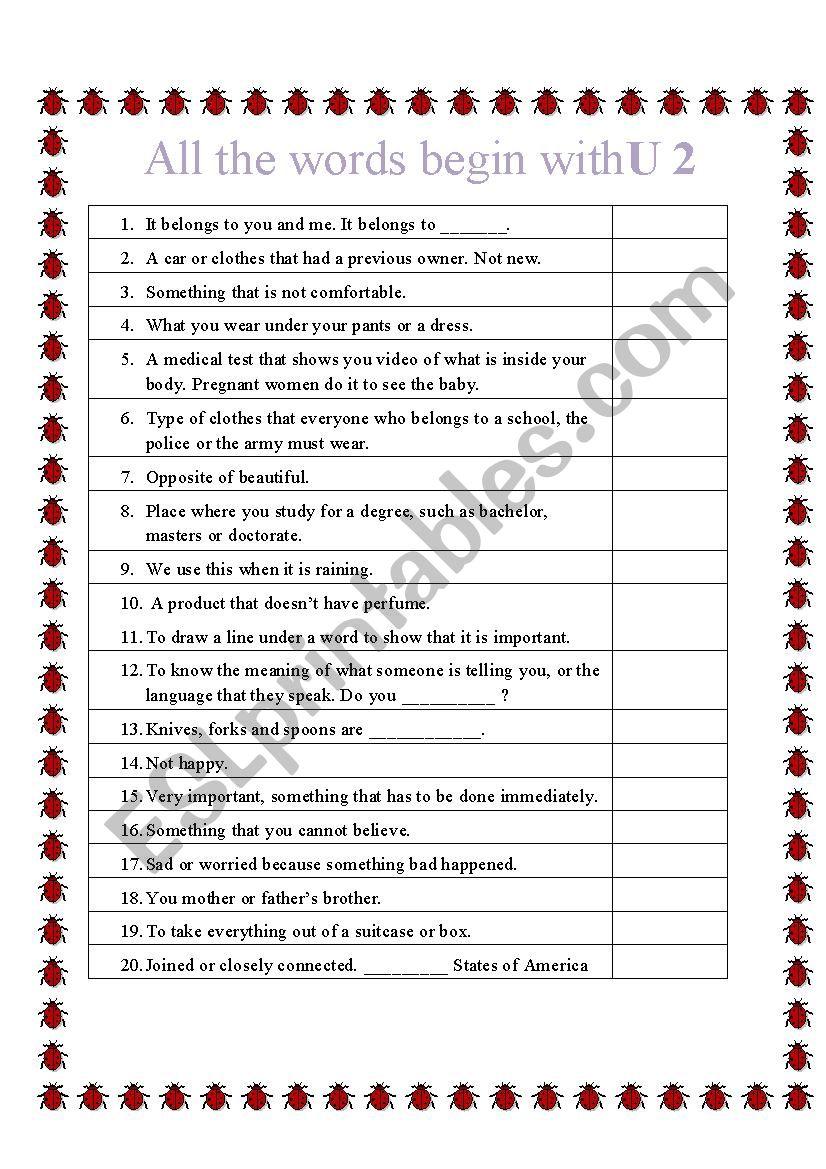All words start with U 2 worksheet