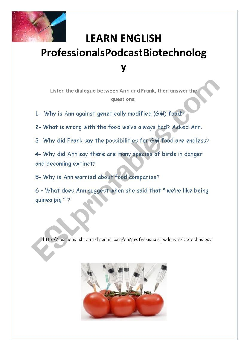 Biotechnology Audio and Comprehension