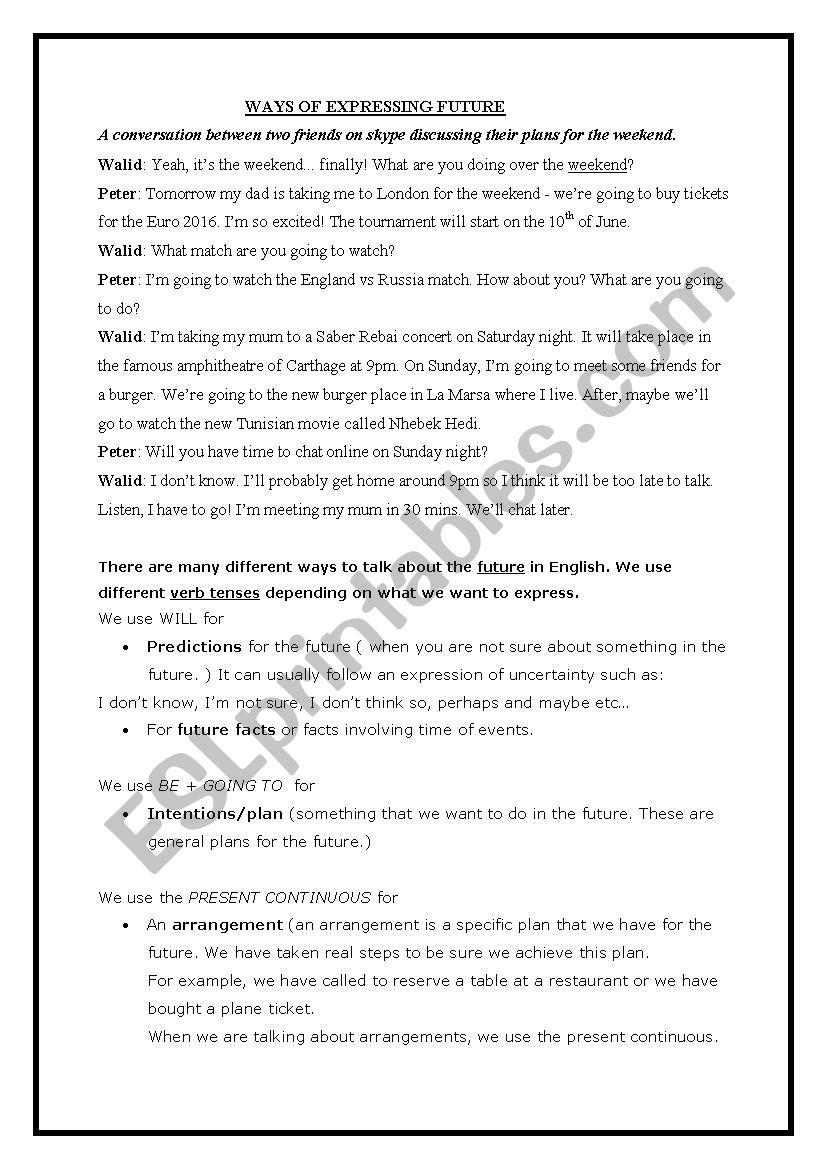 Expressing Future worksheet