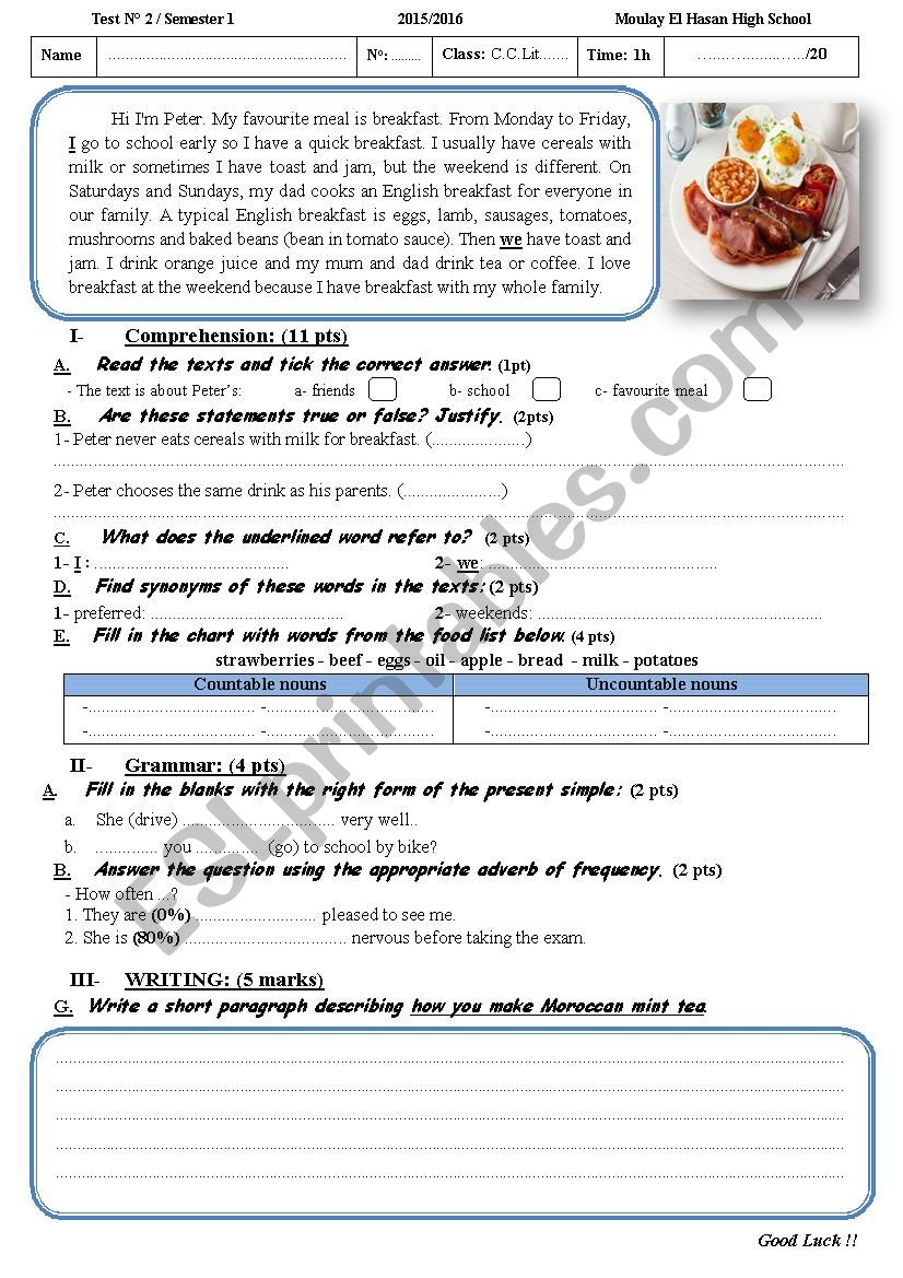 A Reading Comprehension Test For Common Core Students2