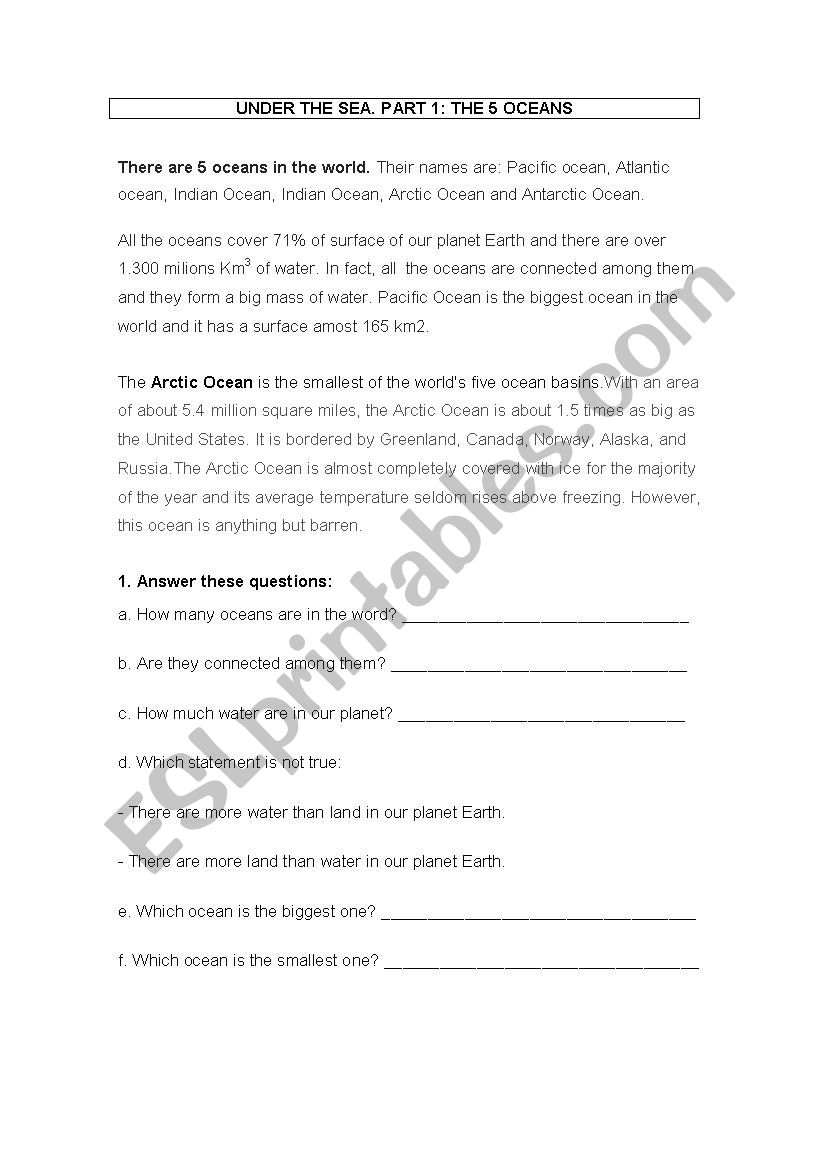 CLIL PROJECT ABOUT OCEANS worksheet
