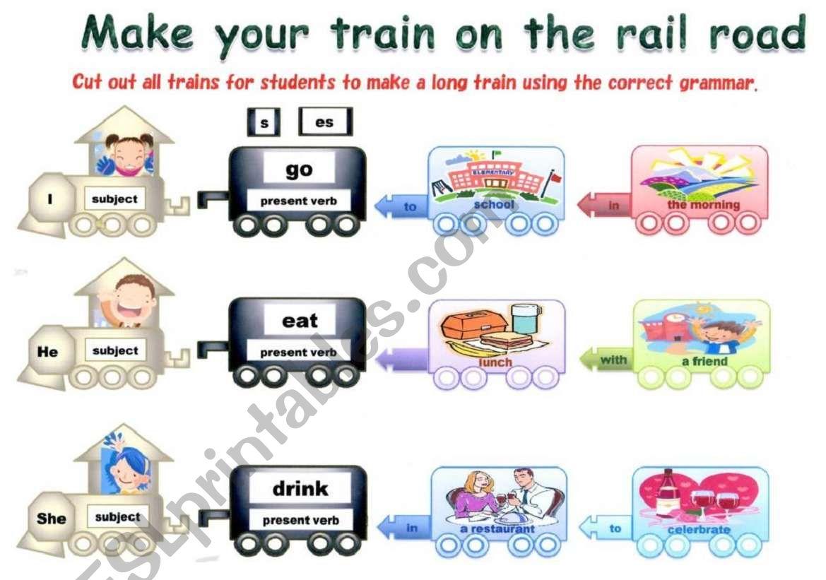 The grammar train worksheet