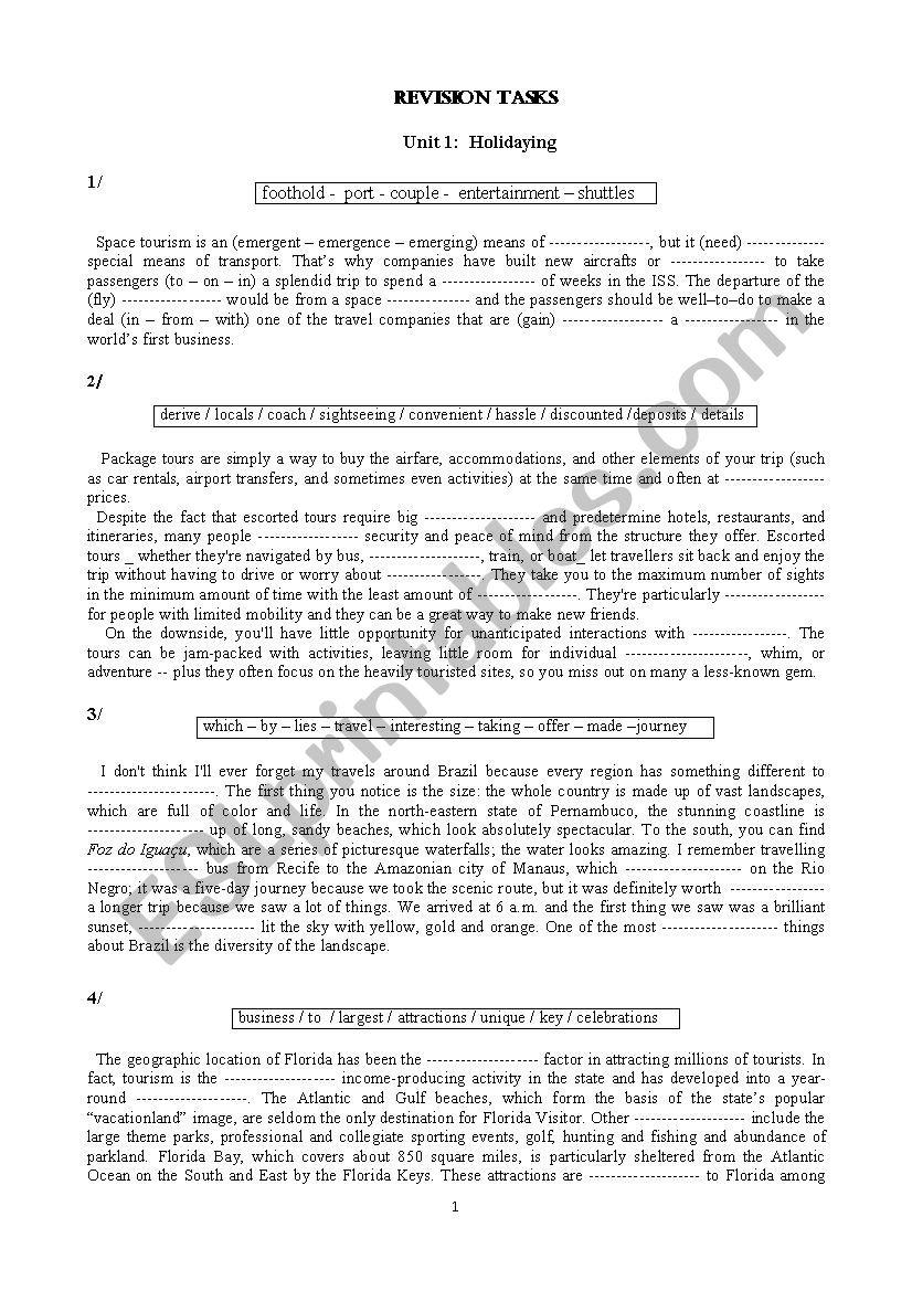 Bac Revision Exercises worksheet