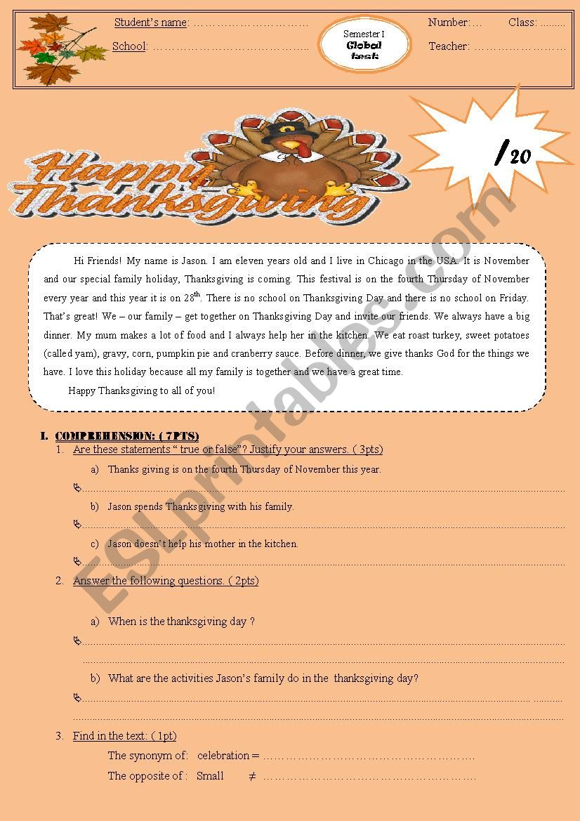 Thanksgiving is coming worksheet