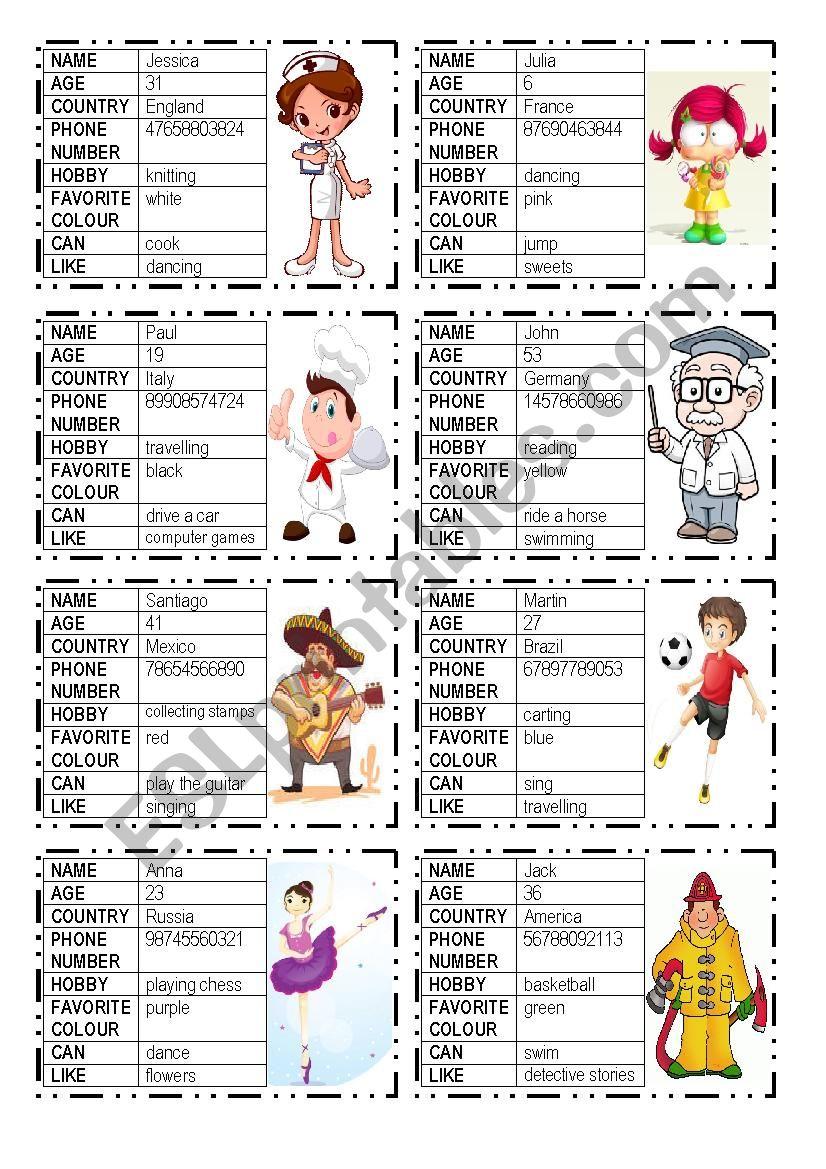 speaking activity worksheet