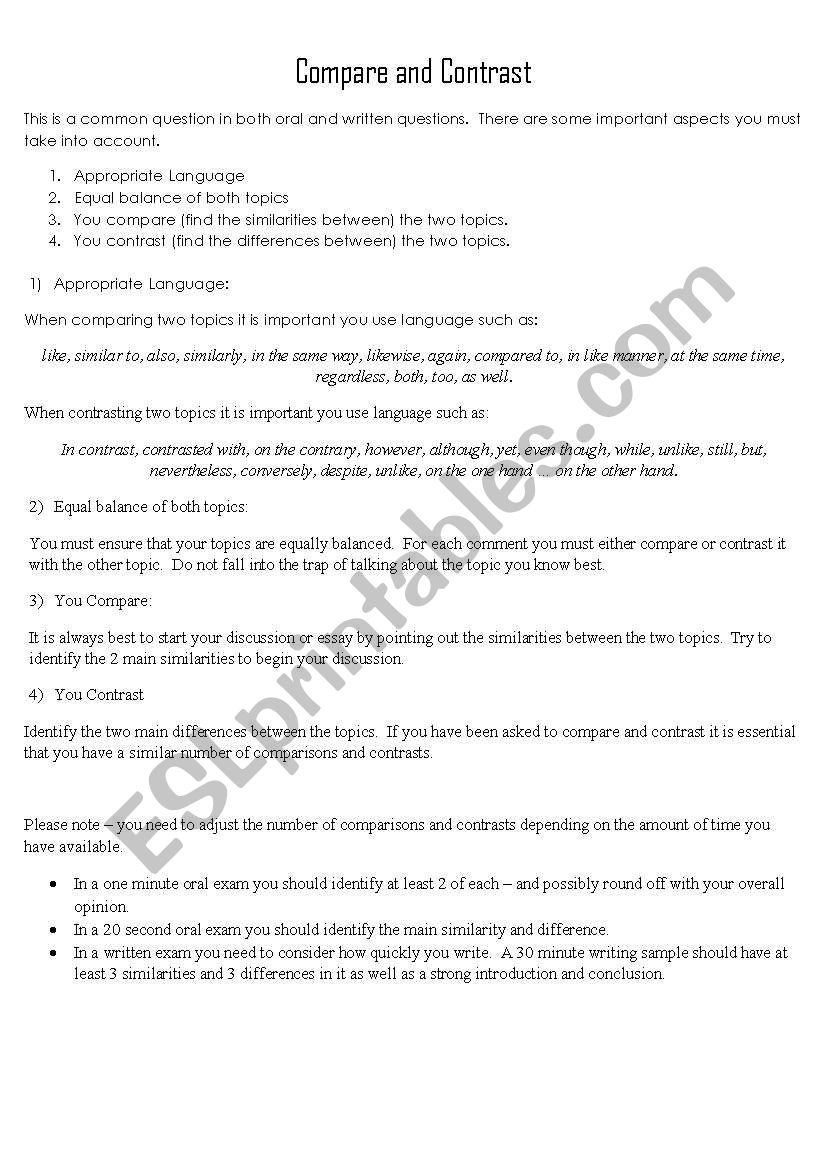Pare And Contrast For Essays And Oral Tests ESL