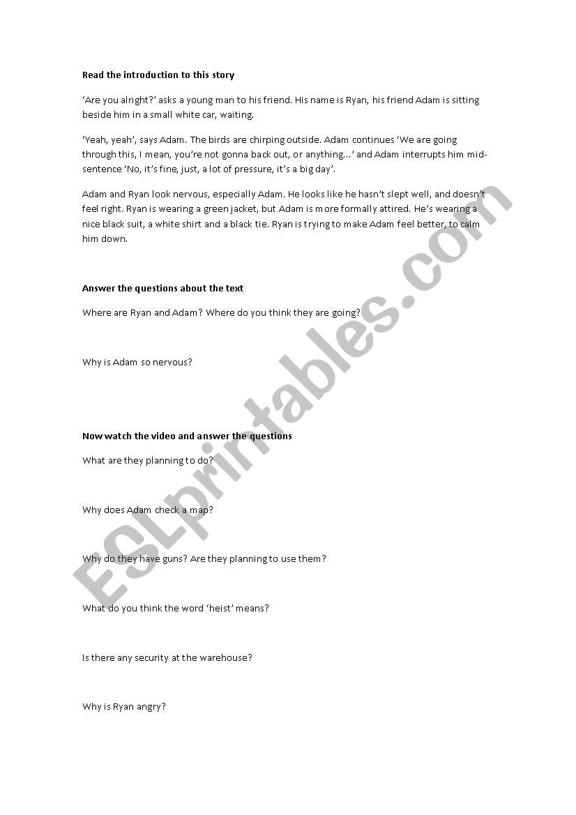 The Heist worksheet