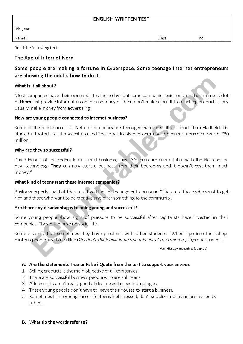 9th year test worksheet