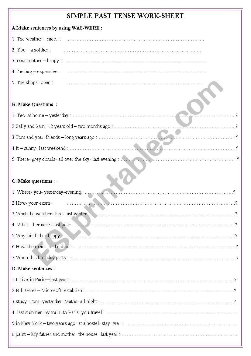 English Worksheets Simple Past Tense