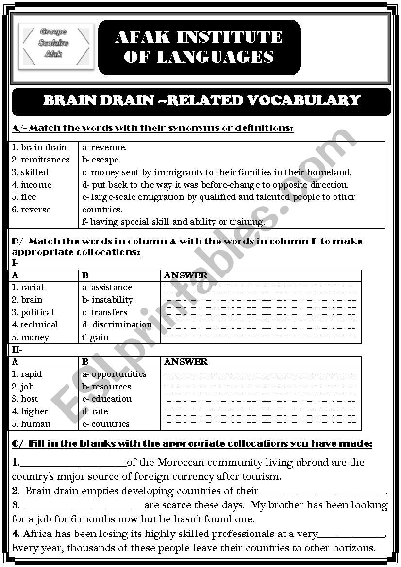 Brain Drain worksheet worksheet