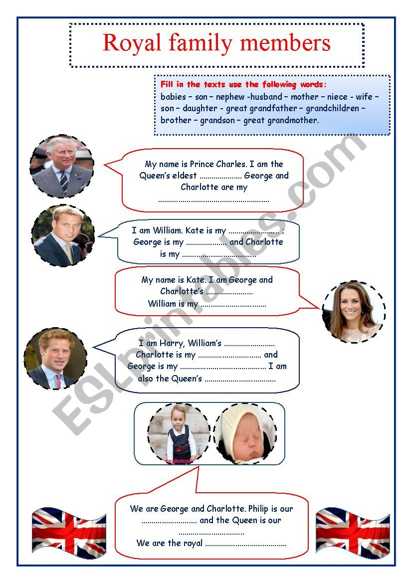 The British royal family  worksheet