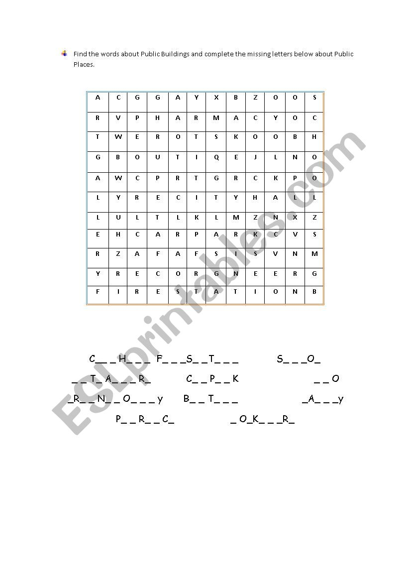 public places puzzle esl worksheet by emin284. Black Bedroom Furniture Sets. Home Design Ideas