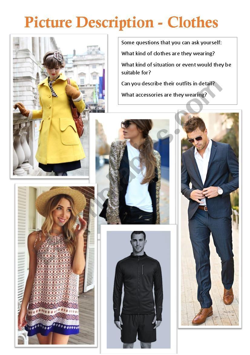 Picture Description - Clothes worksheet
