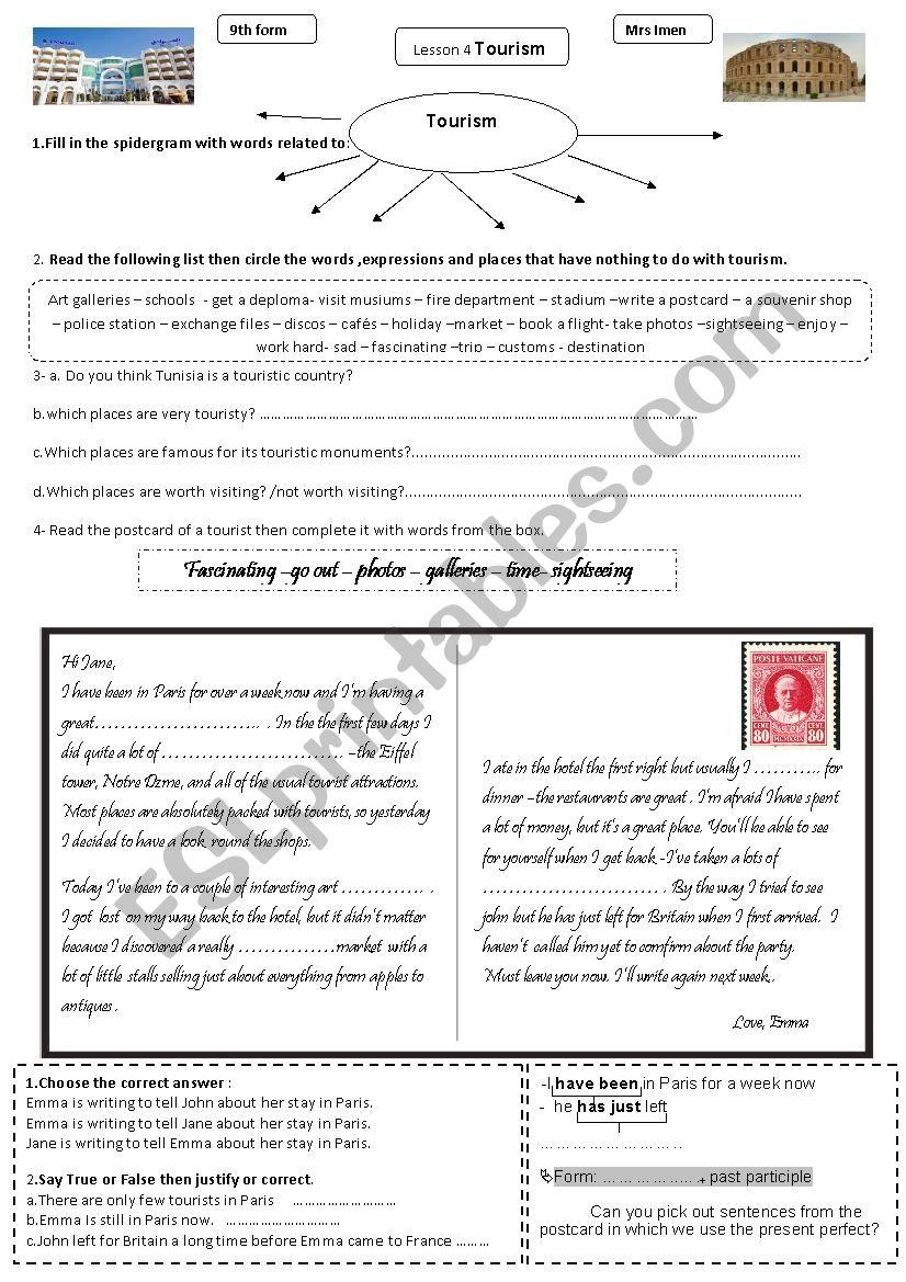 tourism-lesson 3 worksheet