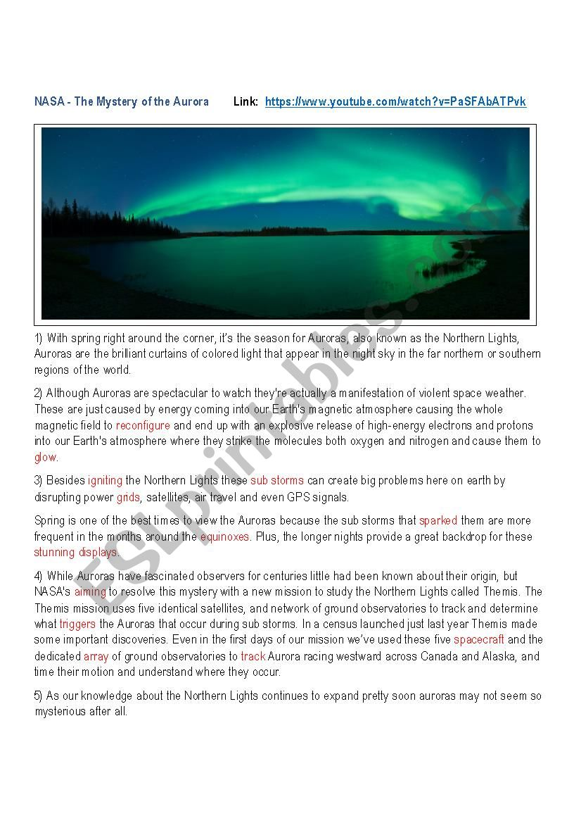 The Mystery of the Aurora worksheet