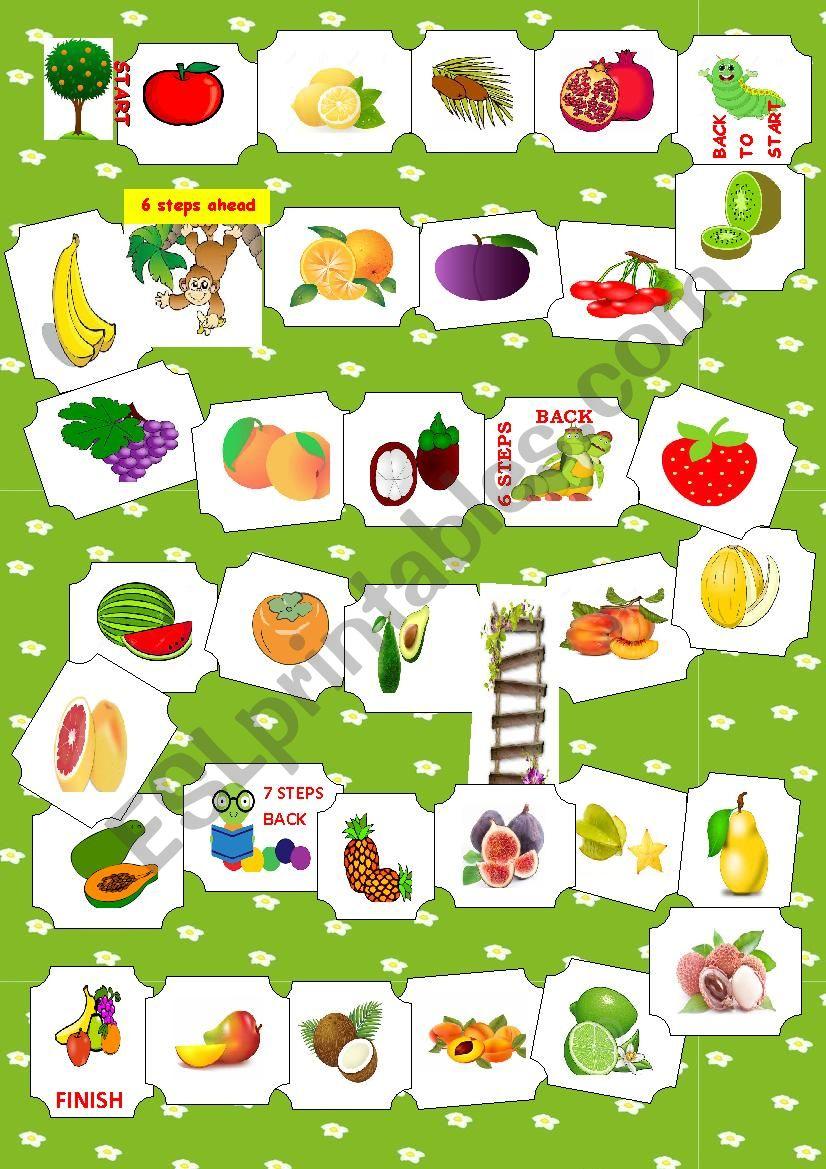 Fruit boardgame worksheet