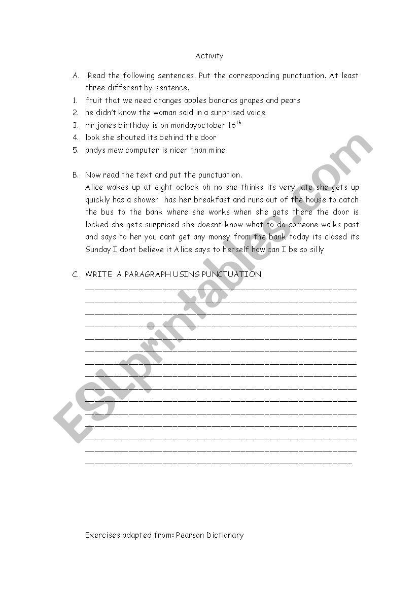 PUNCTUATION EXERCISES worksheet