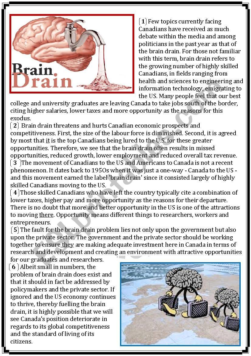 global test: brain drain worksheet