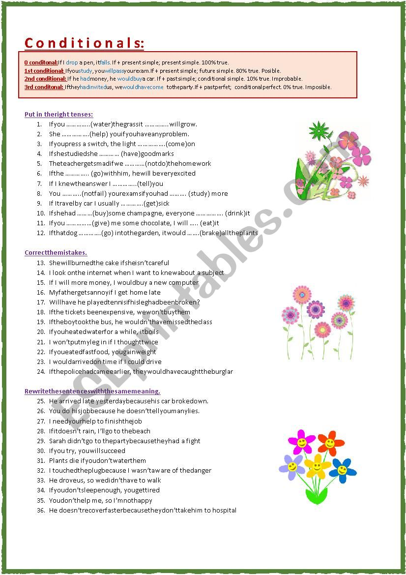 Conditionals 0, 1, 2, 3 worksheet