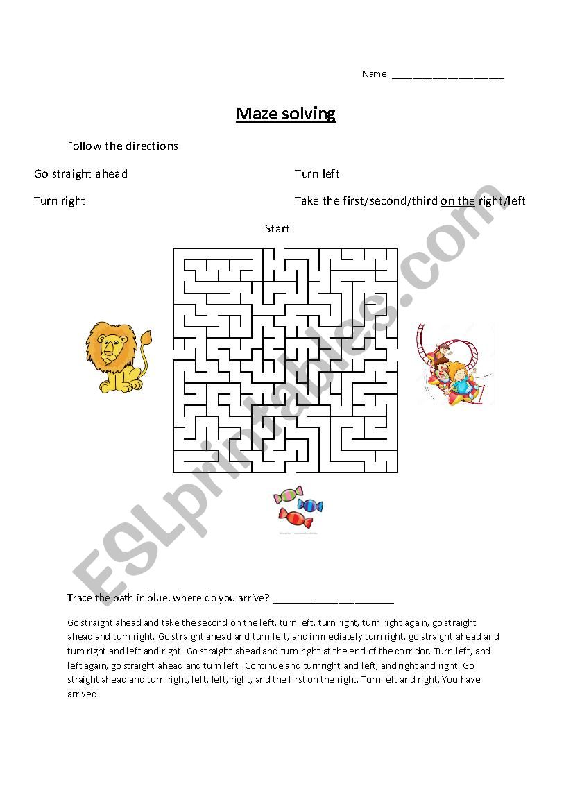 Directions in the maze worksheet