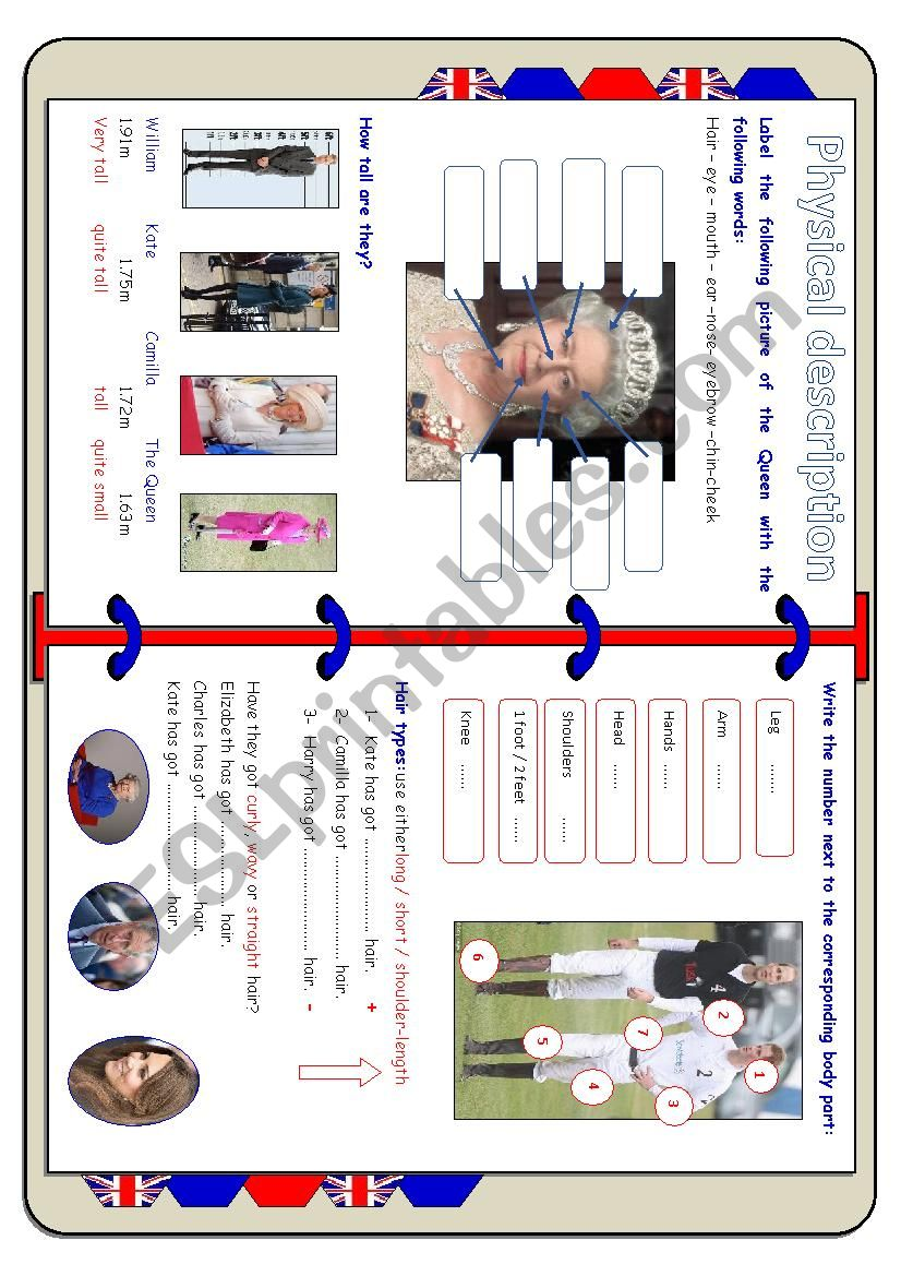 Physical description and clothes British royal Family