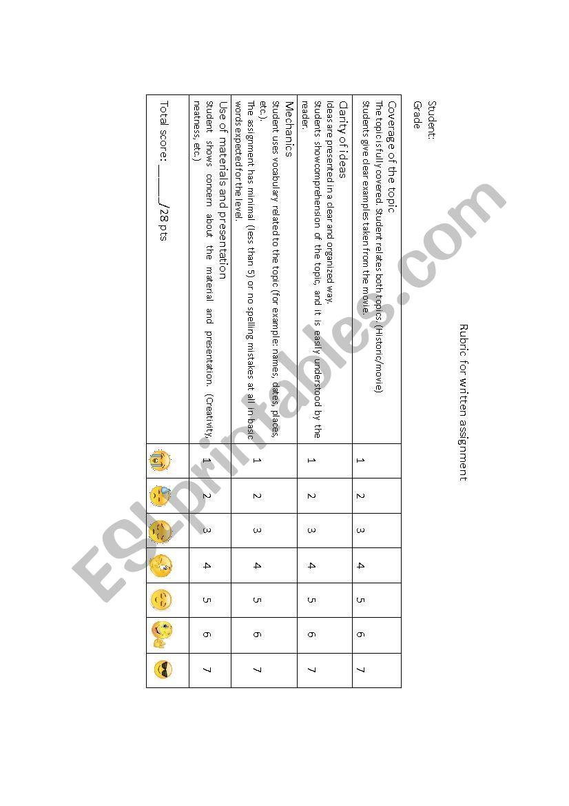 Rubric for written evaluation - ESL worksheet by veropacita