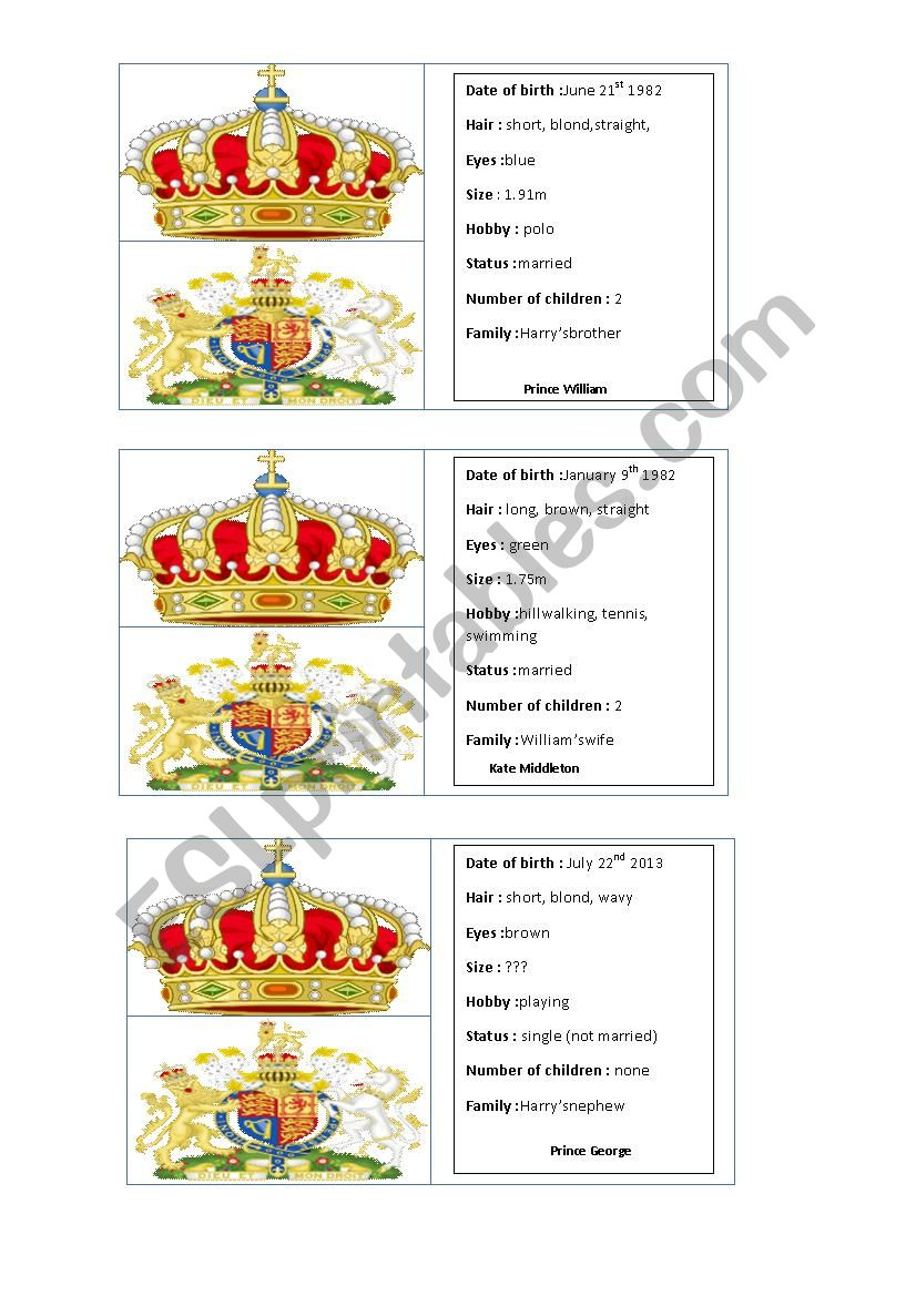 Royal family game cards part 1